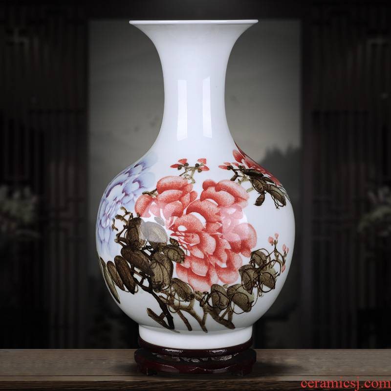 Jingdezhen ceramics hand - made riches and honor peony vases furnishing articles sitting room porch Chinese flower arranging handicraft ornament