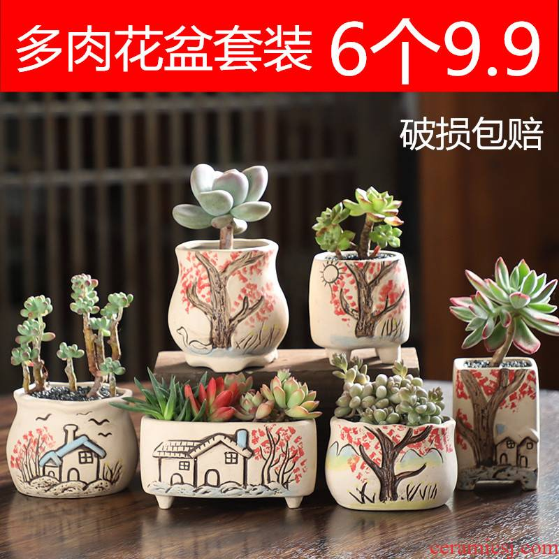 Ceramic pot small special creative breathable more meat more thumb the plants flower pot basin clearance size wholesale