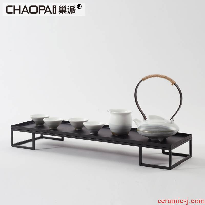 Modern Chinese zen ceramic kung fu tea set furnishing articles ink teapot teacup tray example room decoration