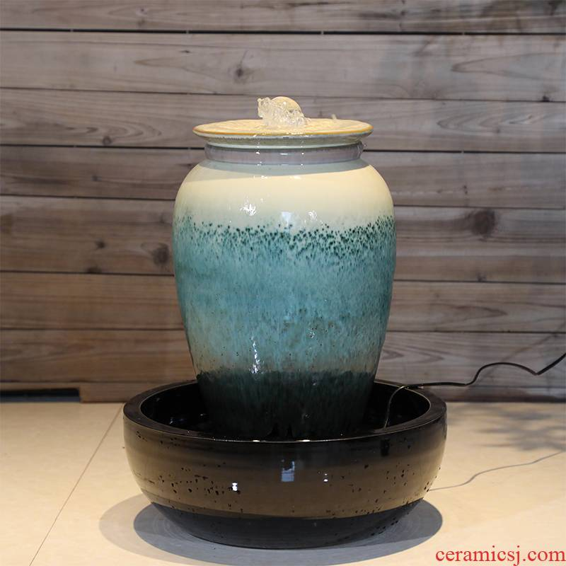 Ceramic sitting room water fountain titanium white American emerald green ground creative furnishing articles ornaments large - scale humidifier