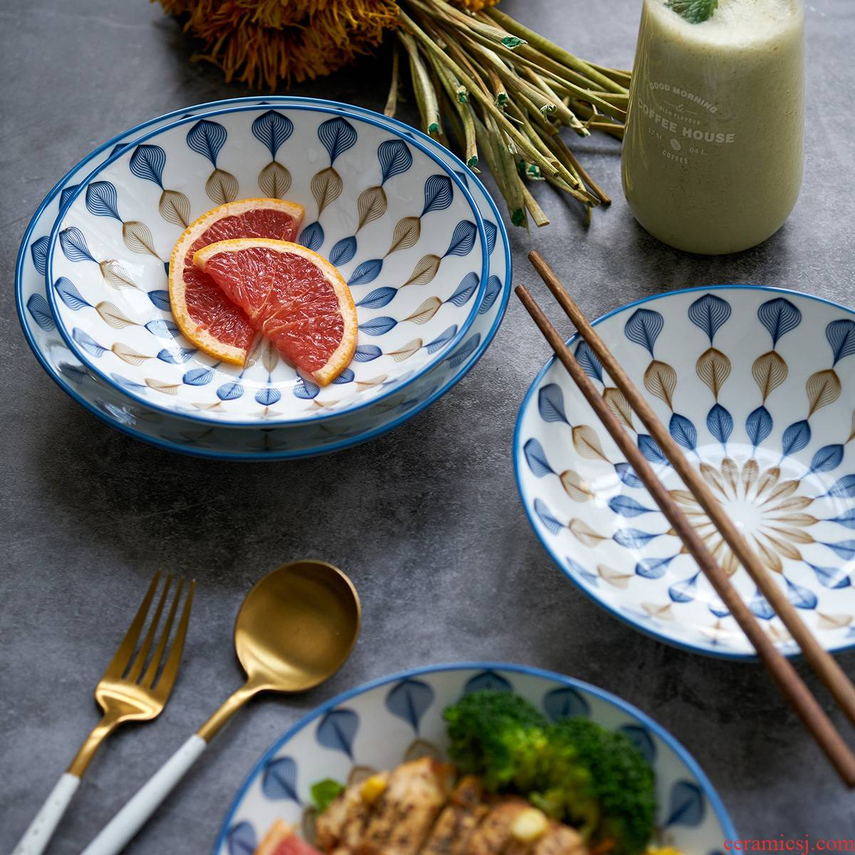 Jingdezhen Japanese dishes home outfit under glaze color porcelain ceramic round microwave oven plate plate