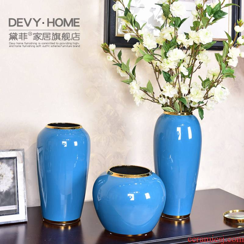 I and contracted sitting room light ceramic vases, new Chinese style key-2 luxury table simulation flower vase furnishing articles home decoration