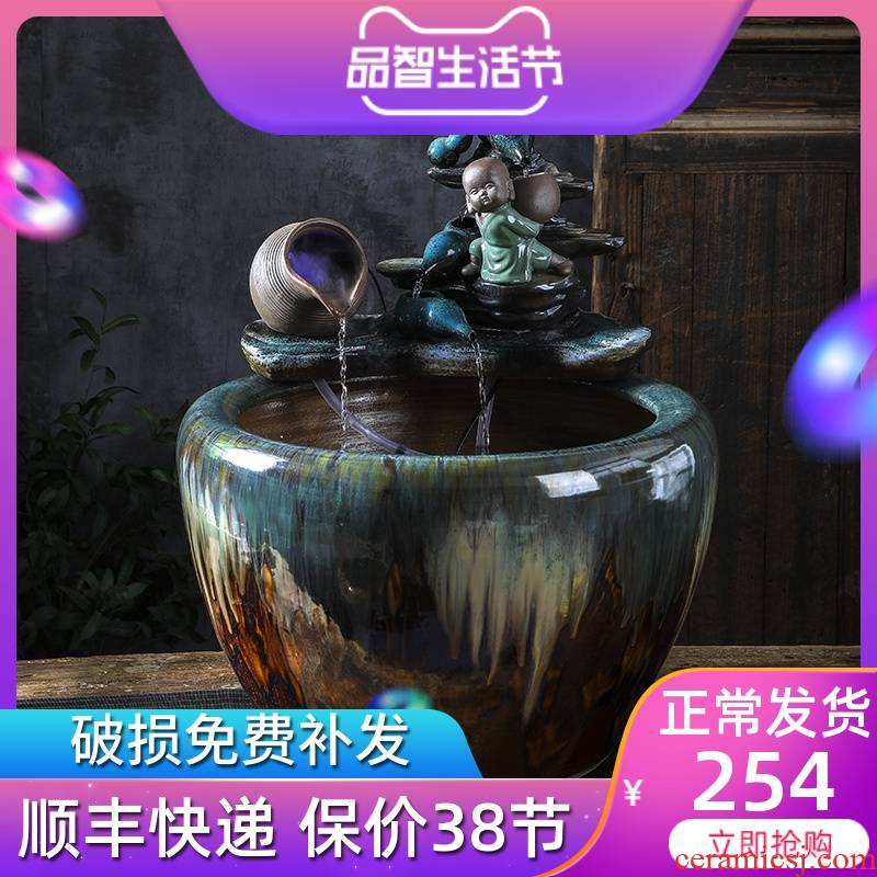 Jingdezhen ceramic water - oxygen tank large automatic sitting room lucky geomantic brocade carp cylinder and Chinese goldfish bowl