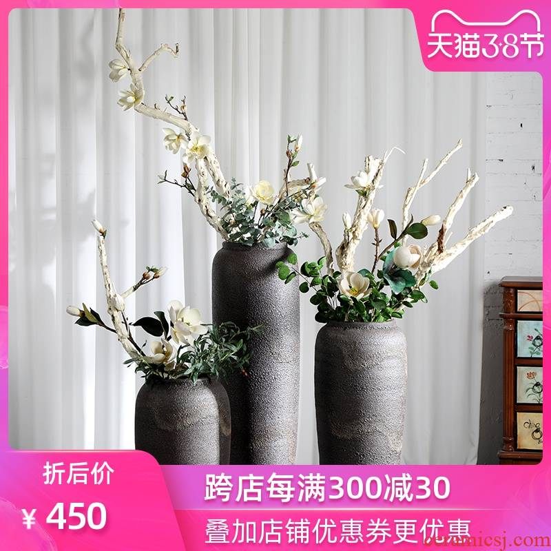 Large ground ceramic coarse pottery vases, flower arranging landscape example room adornment modelling place jingdezhen Europe type restoring ancient ways