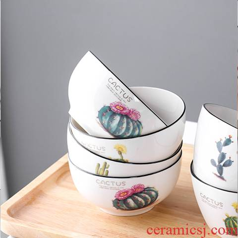Creative dishes suit household of 4 combination of Japanese ceramic bowl chopsticks dishes suit Nordic network red cutlery set