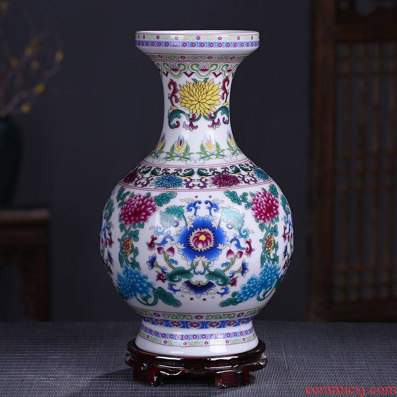 Jingdezhen ceramics enamel see colour blue and white porcelain luminous powder enamel floret bottle home furnishing articles sitting room decoration gifts