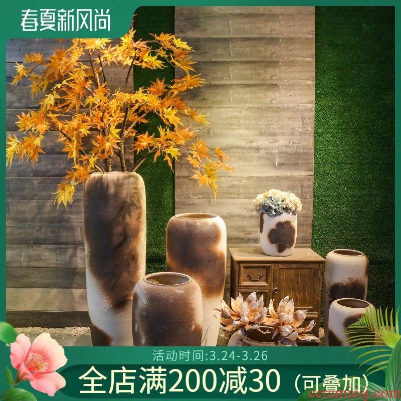 Jingdezhen ceramic big vase simulation restoring ancient ways is the sitting room adornment is placed artificial flowers home decoration floor flower arranging flowers