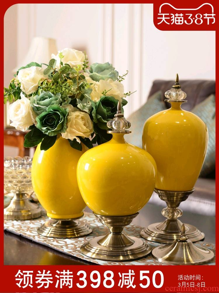 Light European - style key-2 luxury furnishing articles furnishing articles American ceramic vase household act the role ofing is tasted, the sitting room porch table simulation flower flowers