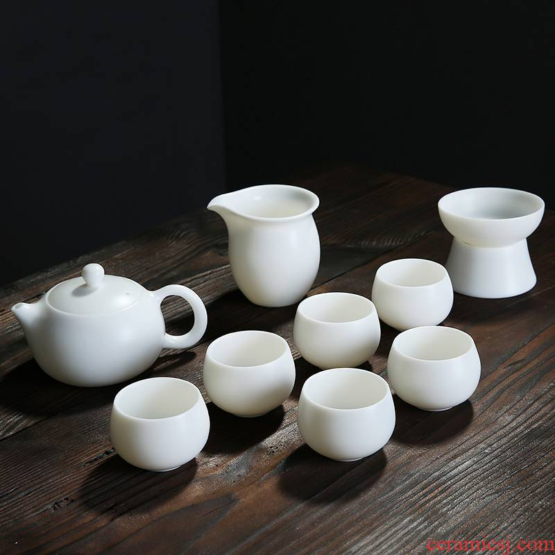 Manual suet jade porcelain dehua white porcelain of a complete set of kung fu tea set suit household contracted cup teapot tea ceramics