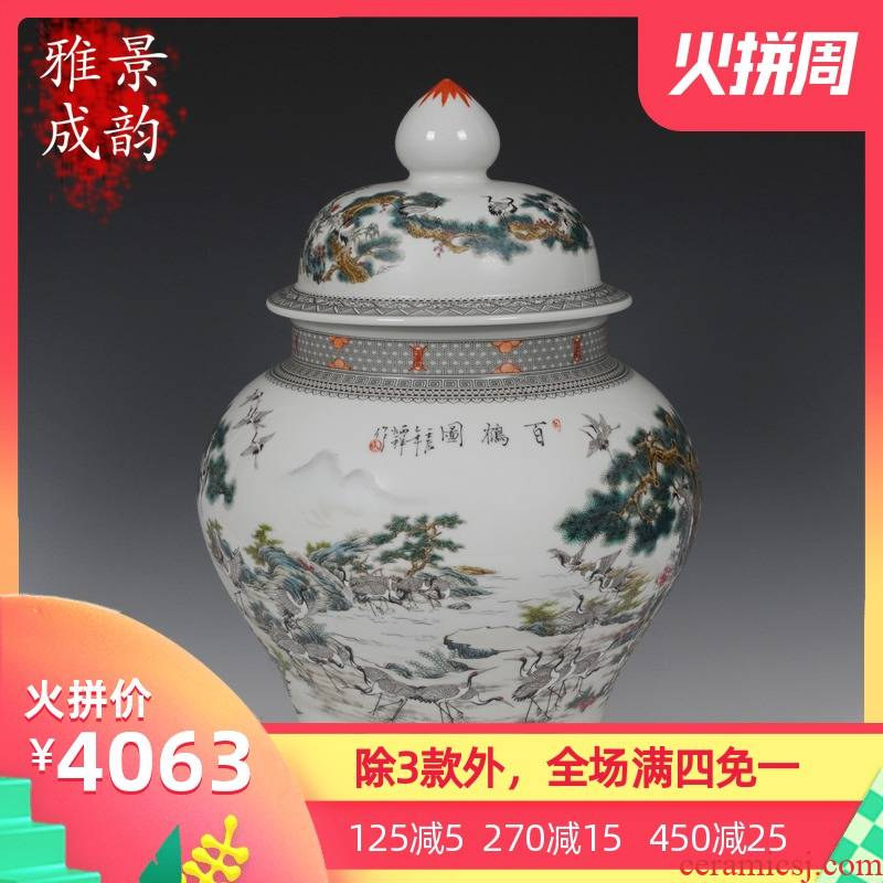 Jingdezhen ceramic caddy fixings hand - made porcelain enamel best crane, the general pot of new Chinese style sitting room adornment is placed
