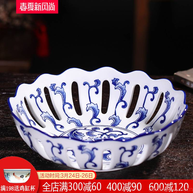 Creative household table sitting room antique Chinese blue and white porcelain of jingdezhen ceramics hollow - out fruit bowl dried fruit tray