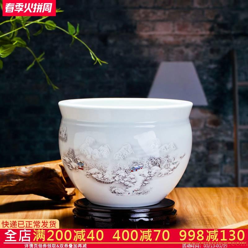 Jingdezhen ceramic aquarium small goldfish turtle cylinder water lily basin fish bowl lotus home furnishing articles large porcelain