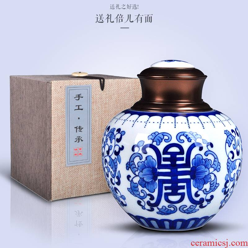 Blue and white porcelain tea pot ceramic seal storage tanks restoring ancient ways is a Chen jin of loose tea packaging gift box a large POTS