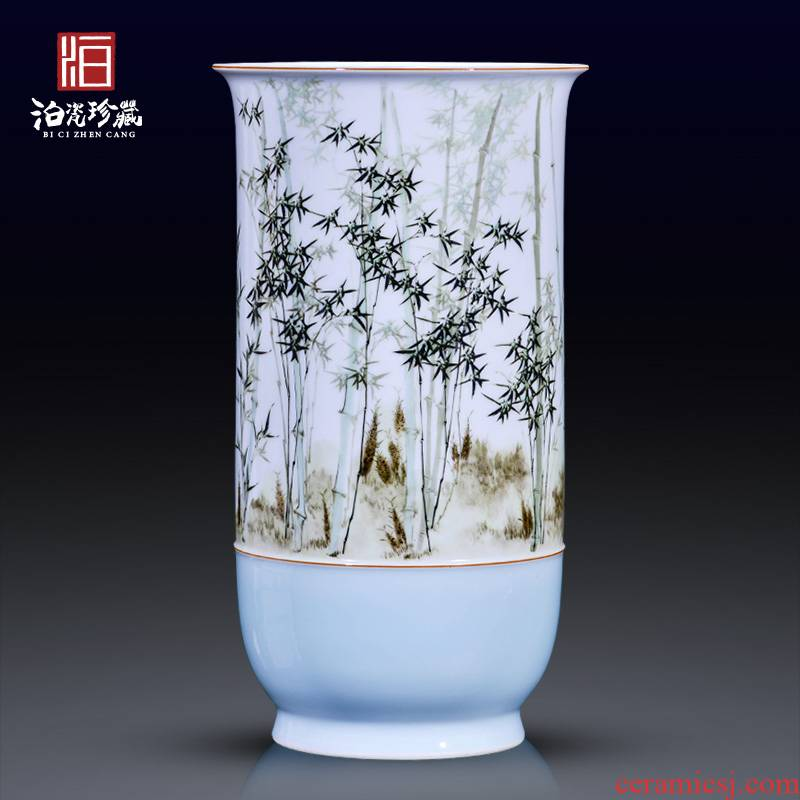 Jingdezhen ceramics hand - made pastel bamboo decorative vase rich ancient frame of new Chinese style household furnishing articles sitting room collection