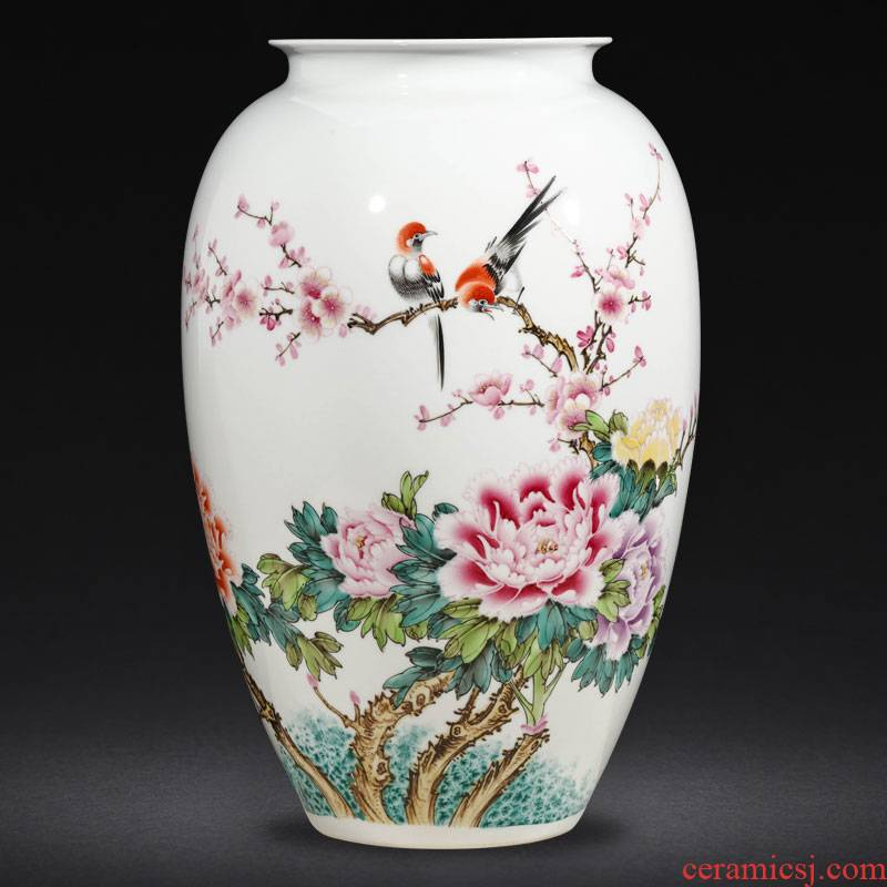 Jingdezhen ceramics famous flower arranging Chinese hand - made enamel vase furnishing articles, the sitting room porch home decoration