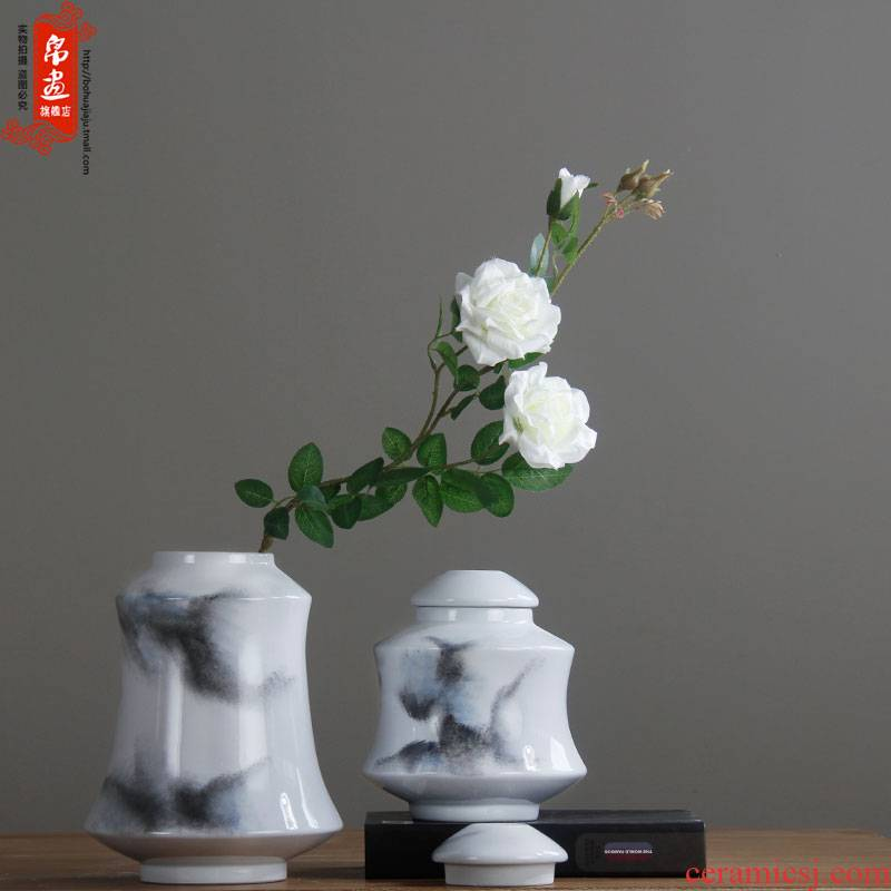 Ink pot of modern Chinese ceramic flower show ceramic storage tank home furnishing articles in the living room