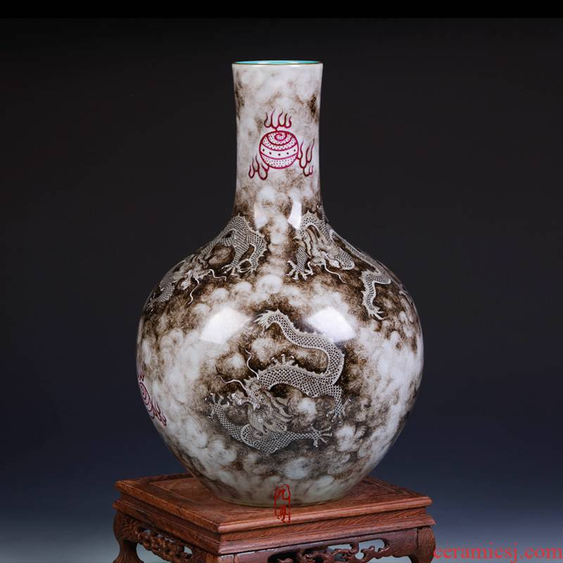 Jingdezhen ceramics color ink see colour imitation the qing qianlong hand - made vases, home decoration crafts are sitting room
