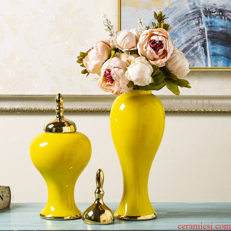 General new Chinese jingdezhen ceramic pot furnishing articles pottery decoration ideas sitting room yellow dried flower flower vase