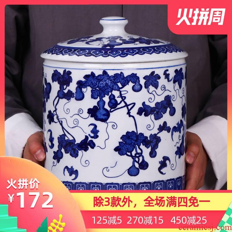 Blue and white porcelain of jingdezhen ceramics with POTS caddy fixings household puer tea pot seal tea urn porcelain tea pot