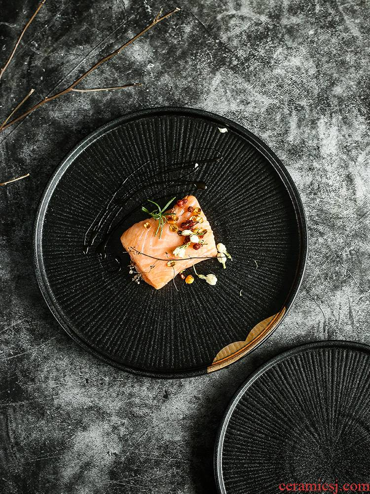 Tao is soft black household tableware steak dinner plate plate of fruit bowl disc flat disc sharply high - grade 0