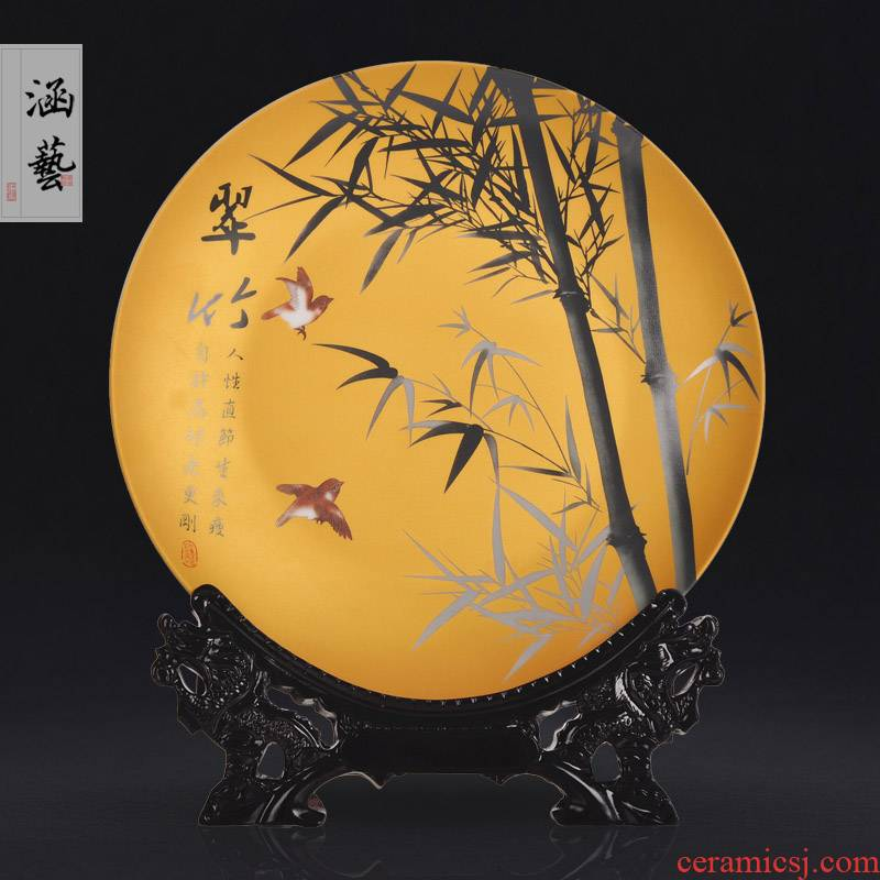 Jingdezhen ceramics powder enamel sit by patterns decorative hanging dish plate of new Chinese style living room home act the role ofing handicraft furnishing articles