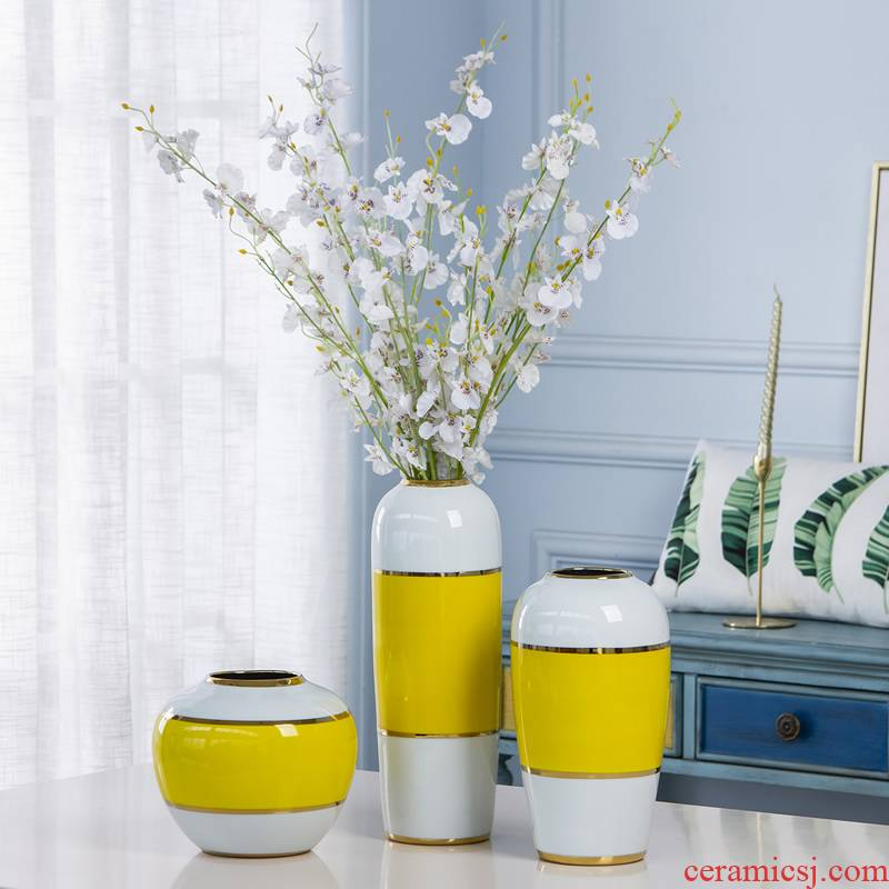 Ceramic vase furnishing articles boreal Europe style living room dry flower decoration flower arranging jingdezhen porcelain light key-2 luxury decorative flower furnishing articles