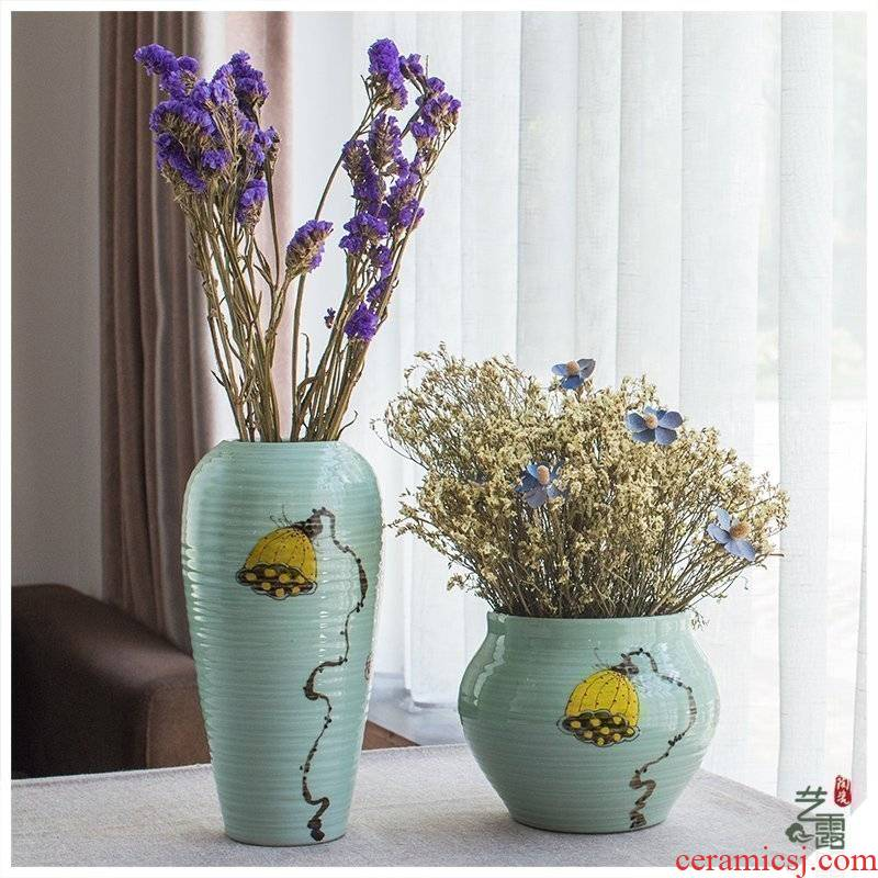 Jingdezhen ceramic vase furnishing articles sitting room furnishing articles furnishing articles new Chinese hand - made vases hydroponic flowers, dried flowers, flower arrangement