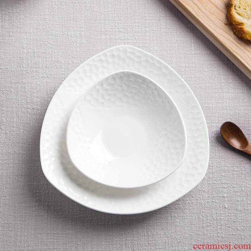 Jingdezhen ipads porcelain tableware of pure creative dish water cube salad plates home plate of ceramic plate
