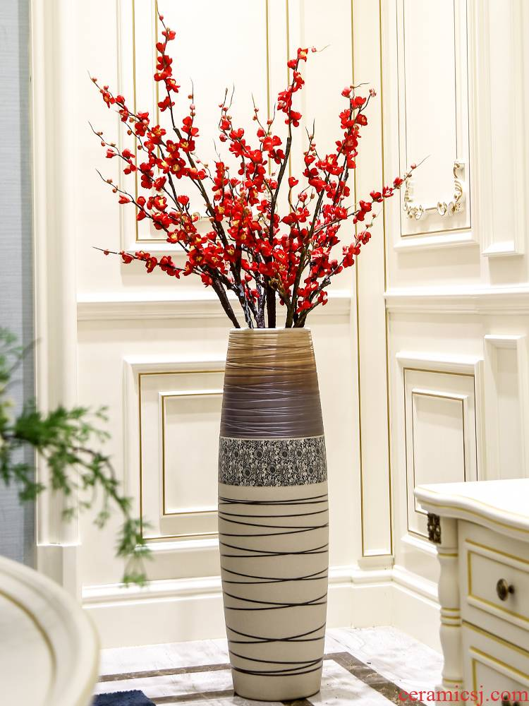 Jingdezhen ceramic floor large flower arranging machine high dry flower vase is contracted and I sitting room the bedroom decorates furnishing articles