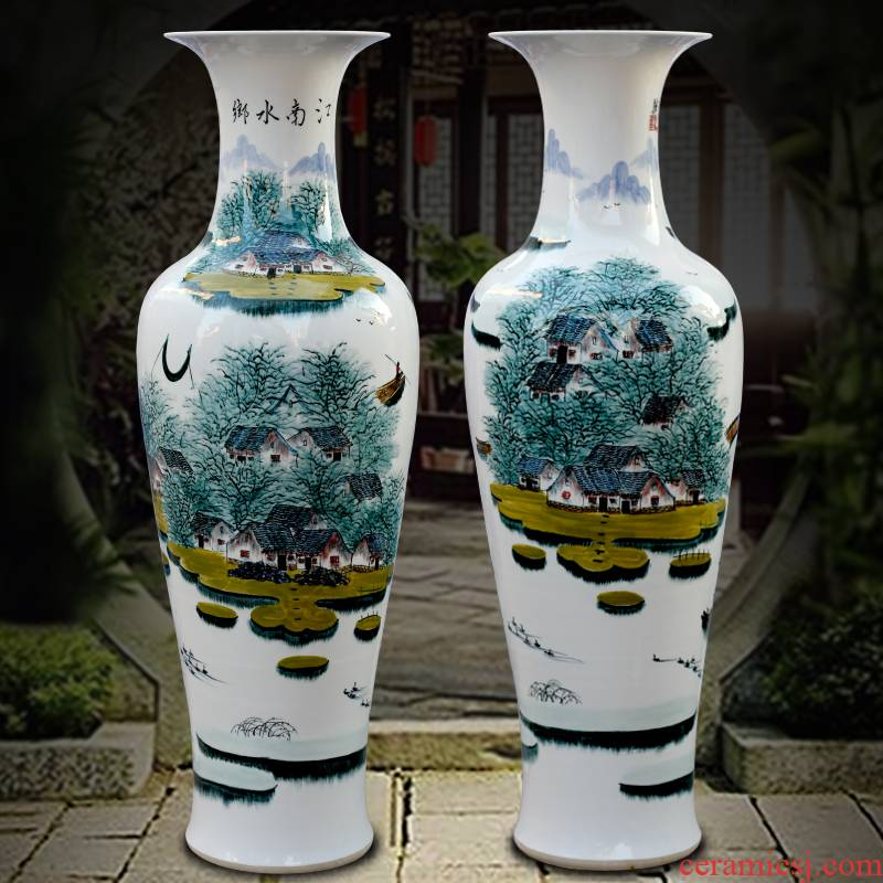 Jingdezhen ceramic hand - made jiangnan water landing big vase home sitting room office furnishing articles opening gifts