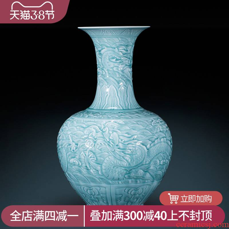Jingdezhen archaize yongzheng shadow blue its YunLongWen ceramic vases, Chinese style living room decorations landing place