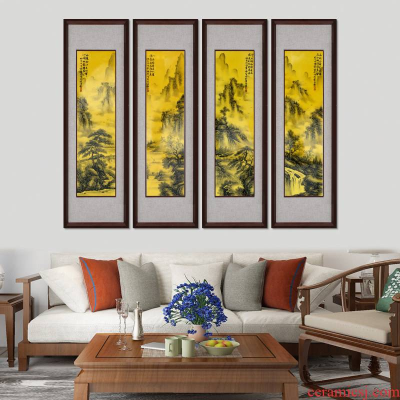 Jingdezhen Chinese landscape painting porcelain plate painting the living room with four screen box ceramic wall hanging hangs a picture hanging vertical porch murals