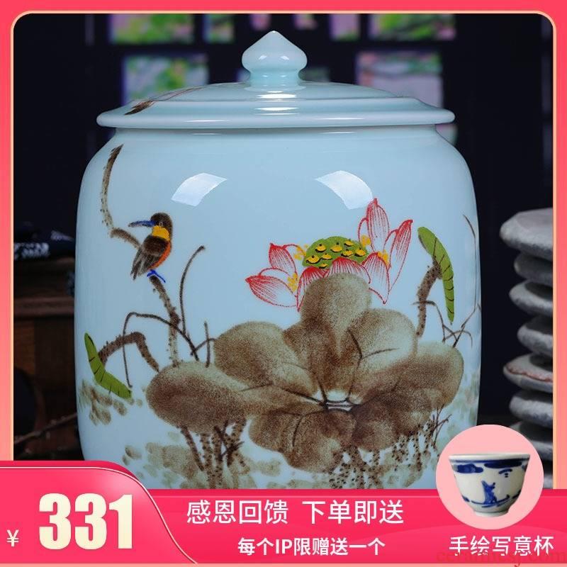 Jingdezhen ceramic hand - made tea cake jar airtight jar large puer tea with restoring ancient ways of household