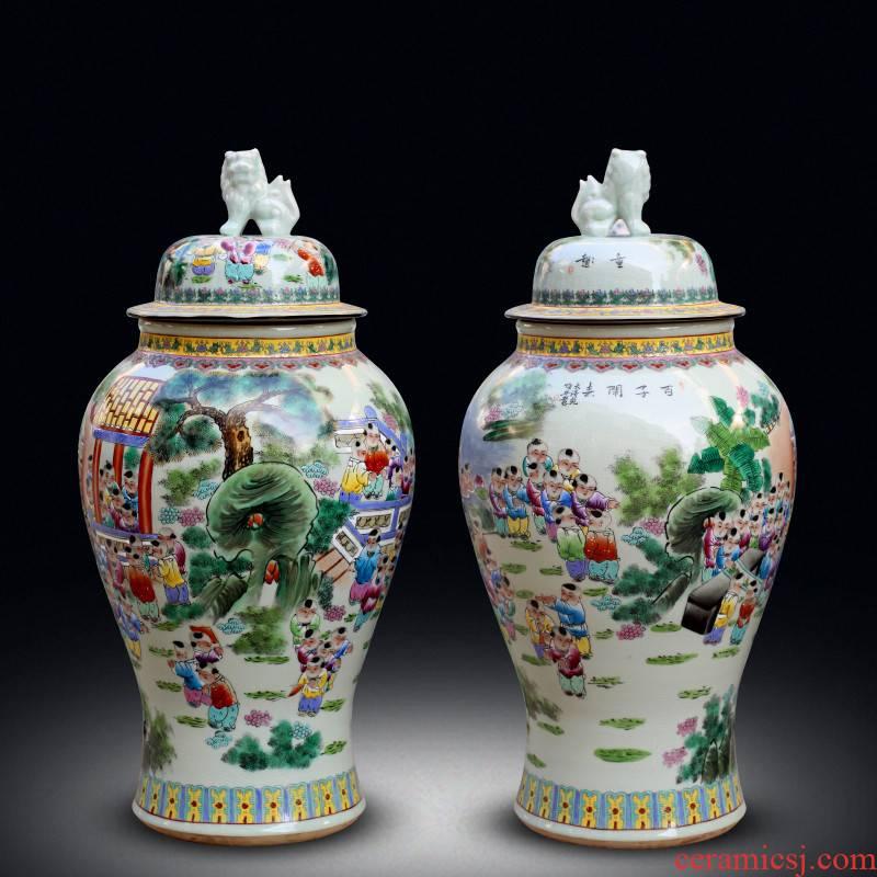 Jingdezhen ceramics of large storage tank craft vase archaize pastel lad general decorative furnishing articles