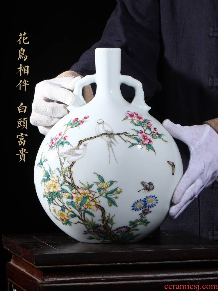 Jia lage jingdezhen hand - made ceramic vase YangShiQi colored enamel bird patterns and name on bottle porch place