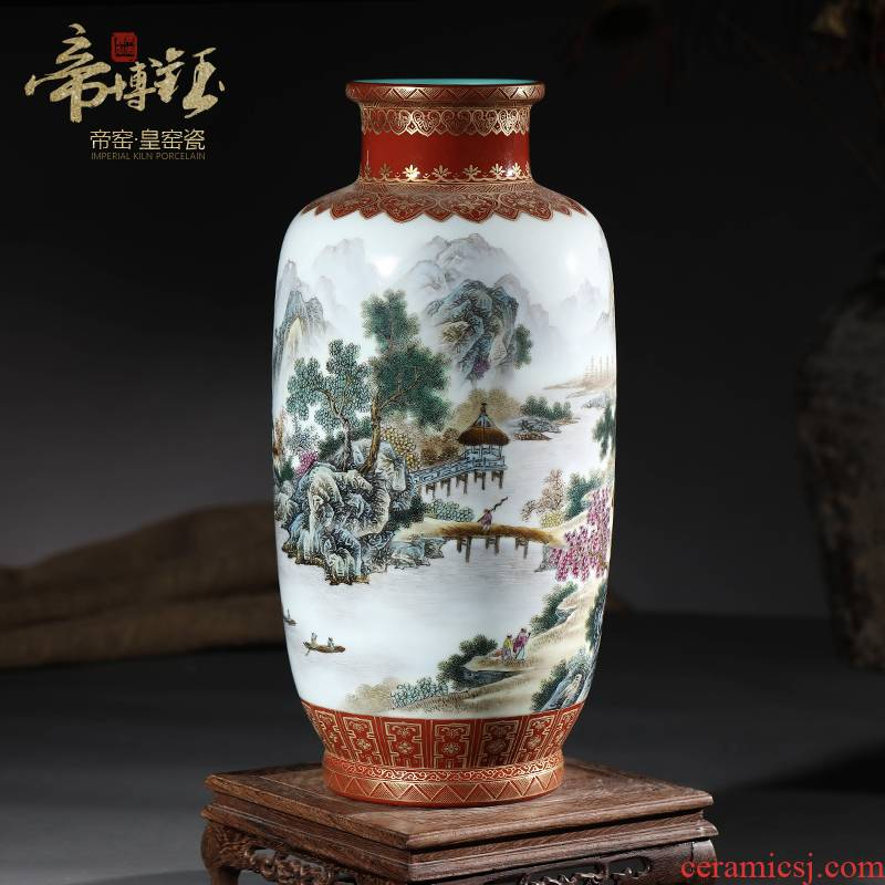 Jingdezhen ceramic antique hand - made pastel offering red glaze landscape idea gourd bottle home sitting room adornment handicraft furnishing articles