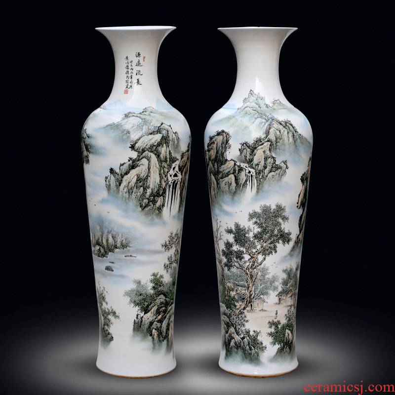 Jingdezhen ceramics from pastel landscape painting has a long history of large vase home sitting room adornment furnishing articles