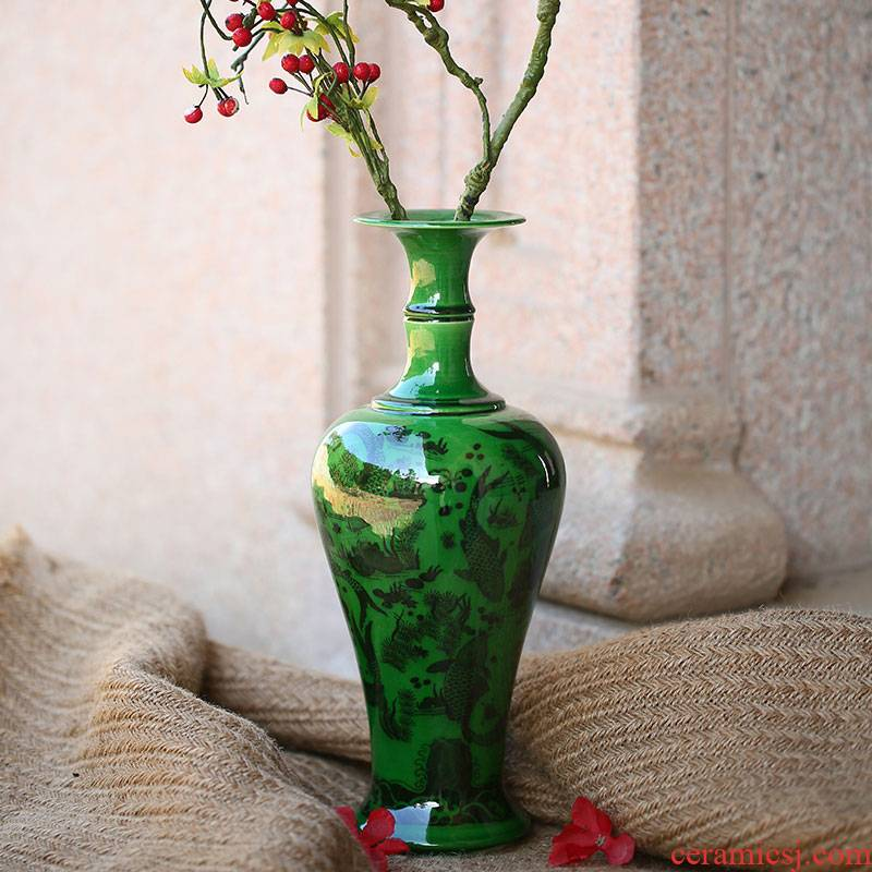 Jingdezhen ceramics archaize open green vase furnishing articles of Chinese style household adornment handicraft decoration restoring ancient ways