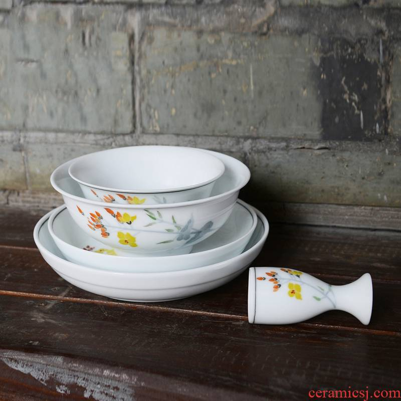 Liling porcelain porcelain good remit under the warm spring suit 30 pure hand - made tableware glaze color thin bowls plates household gifts