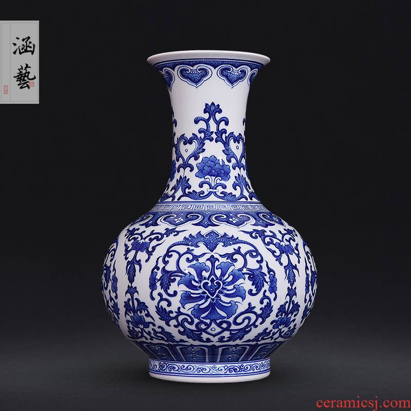 Jingdezhen ceramics hand - made antique blue - and - white riches and honour the best bottle of new Chinese style flower arrangement sitting room decorate gifts furnishing articles