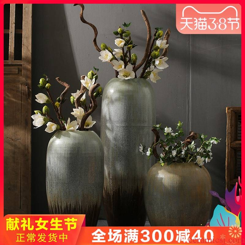 Jingdezhen nostalgia sitting room ground ceramic vase dried flower simulation flower decoration decoration villa coarse pottery restoring ancient ways furnishing articles