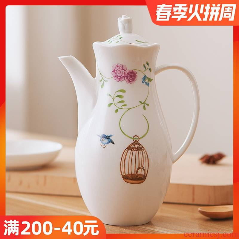 Northern rural wind loading vinegar bottle of soy sauce seasoning oil can ceramic pot pot balm capped kitchen caster