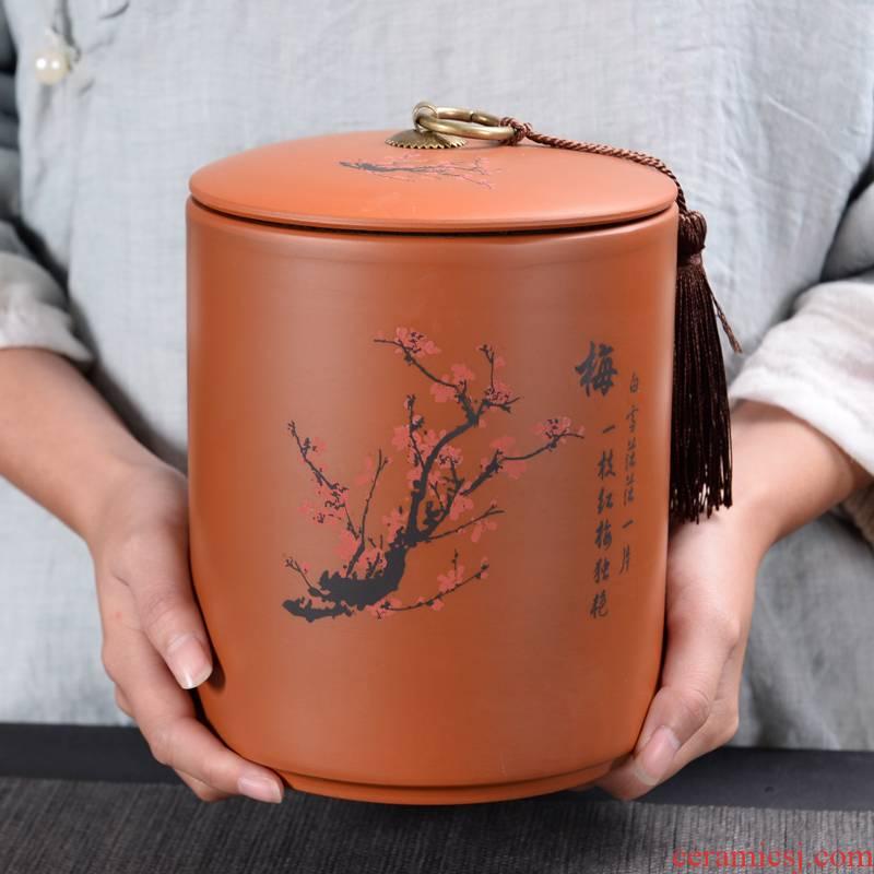 Household violet arenaceous caddy fixings large ceramic POTS of pu 'er tea box seal pot wake receives the custom logo
