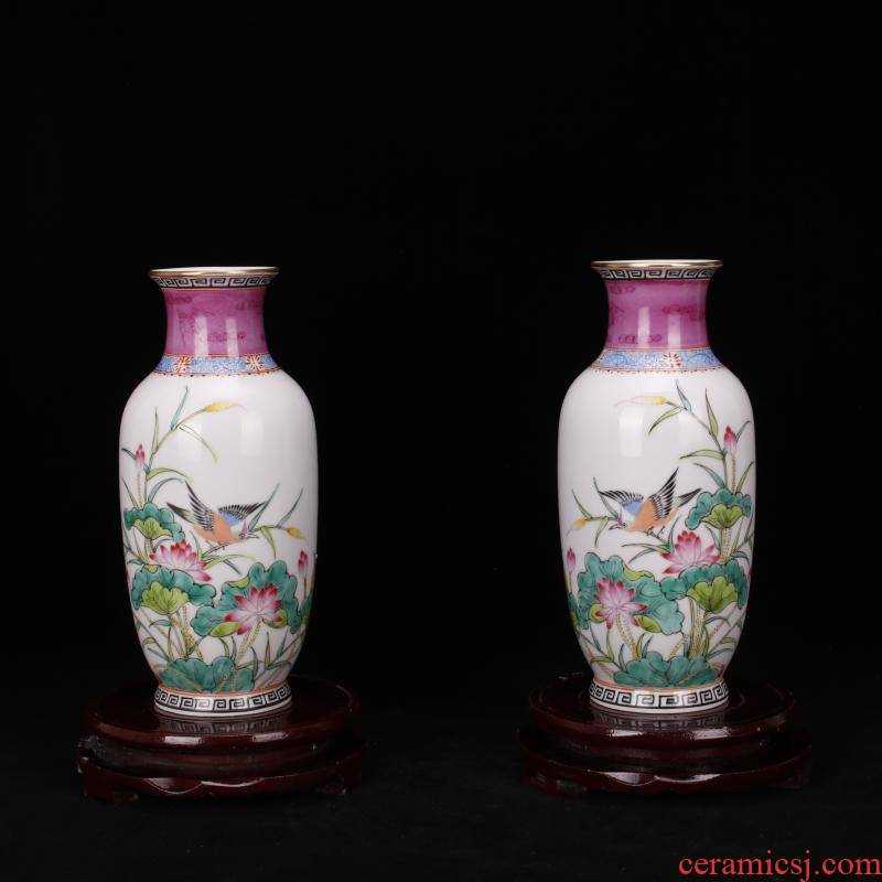 Yongzheng of jingdezhen copy with pure manual throwing hand draw pastel trace of gold floret bottle manual art furnishing articles