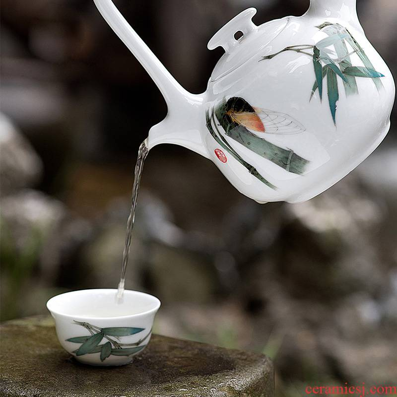Liling porcelain, Chinese style of kung fu tea set glaze color hand - made girder under the teapot six cups of tea gifts