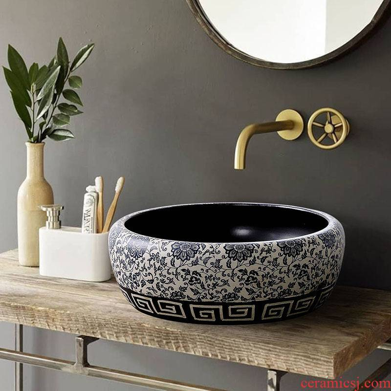 The stage basin of jingdezhen blue and white round ceramic lavabo art basin of Chinese style household hotel toilet lavatory