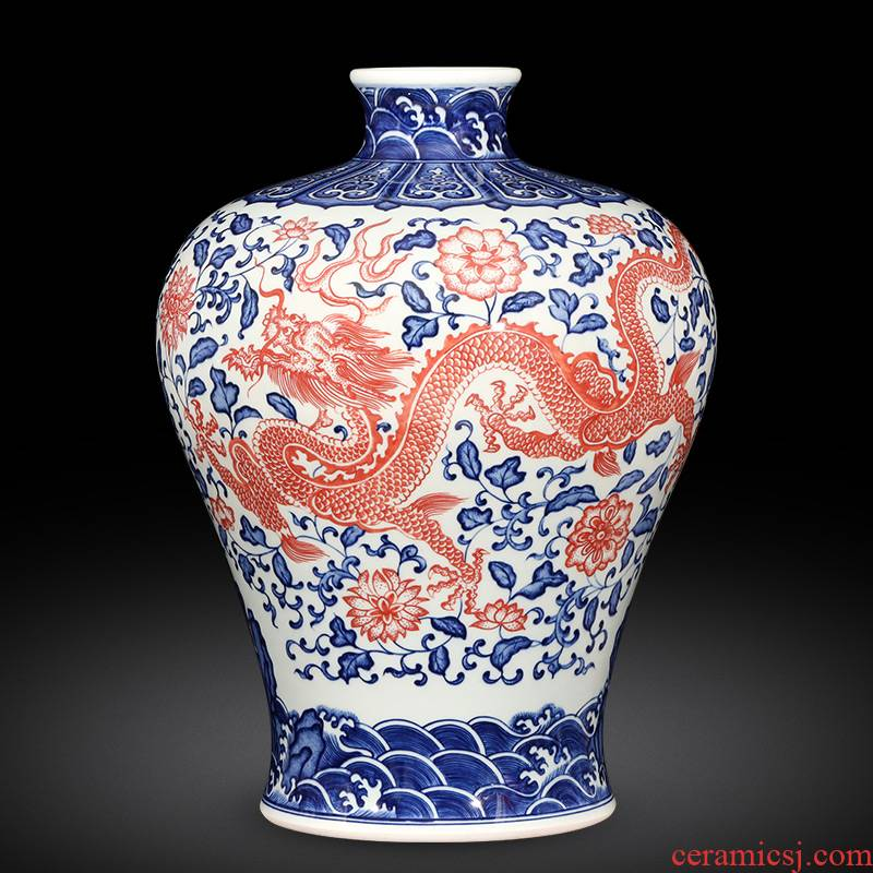 Jingdezhen ceramics imitation qianlong hand - made dragon pattern of blue and white porcelain vase flower arranging the new Chinese rich ancient frame is placed in the living room
