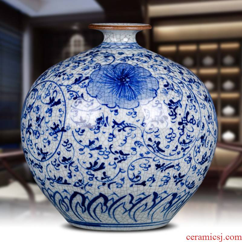 Archaize of jingdezhen ceramics up hand - made under glaze color blue and white porcelain vases, antique crafts home furnishing articles