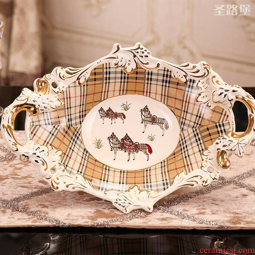 Fort SAN road creative European household ceramic bowl sitting room tea table decorations fruit bowl housewarming gift