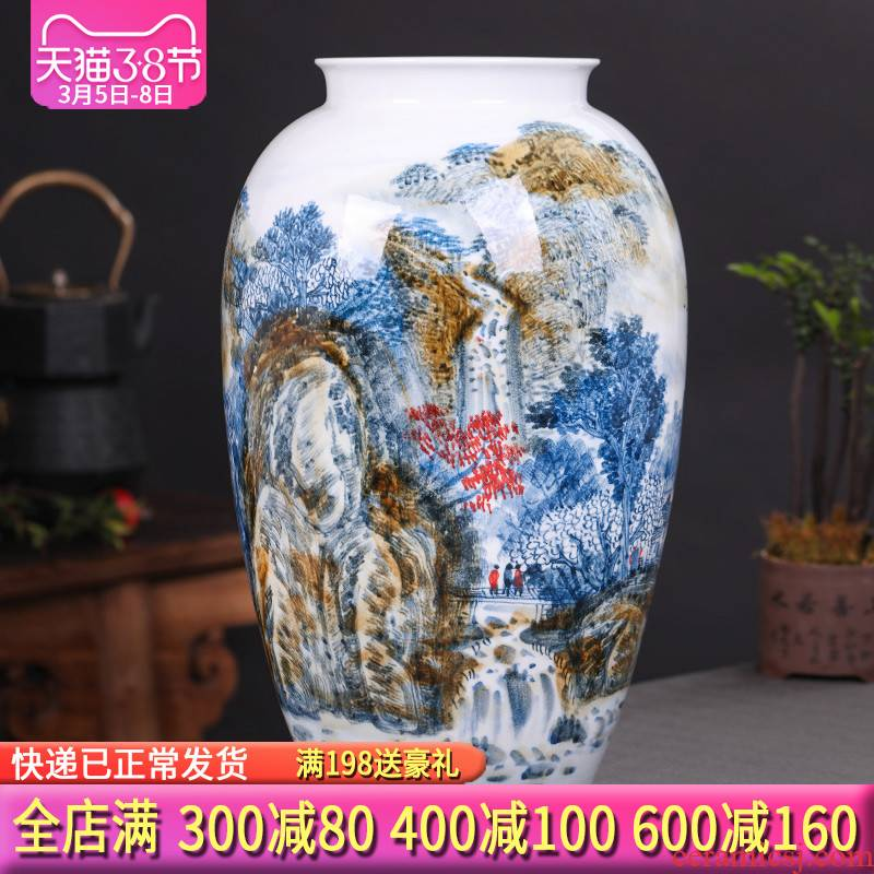 Antique hand - made of blue and white porcelain of jingdezhen ceramics of large vases, flower arranging Chinese sitting room adornment is placed